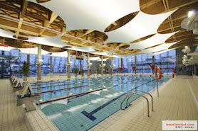 Swimming pool with sails