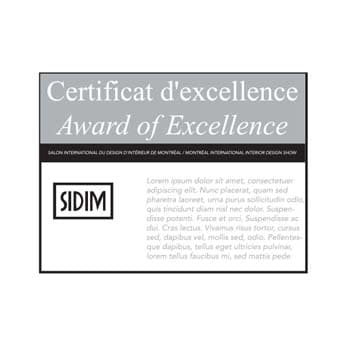 Award of Excellence Certificat