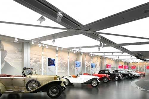 Alfa Romeo showroom with illuminated stretch ceiling