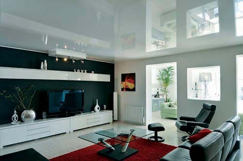 Living room with barrisol canvas lacquer finish on the ceiling