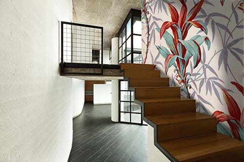 Interior staircase with huge wall canvas printed with flowers