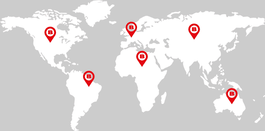 World map illustrating Barrisol is present on all continents