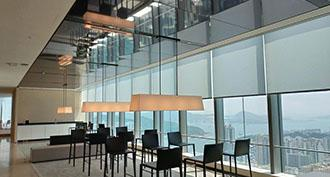 A haute couture desk in the One Island East skyscraper in Hong Kong, adorned with a tin Moiré mirror